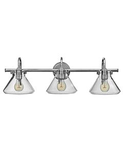 Small Retro Glass Three Light Vanity